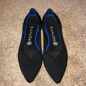 Rothy's pointed toe size 9 black show EUC